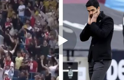 VIDEO: Arsenal fans spotted ironically celebrating Man City goal during 5-0 drubbing