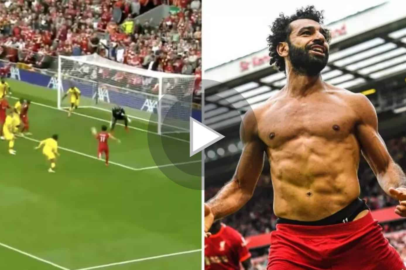 GOOALLL Mohamed Salah doubles Liverpool's lead after arriving at the back post to volley home